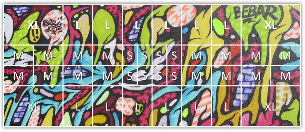"""Un nouveau concept de Galerie d'art dédié au street art : Exemple de """"découpe"""" d'une fresque en 40 """"parts"""
